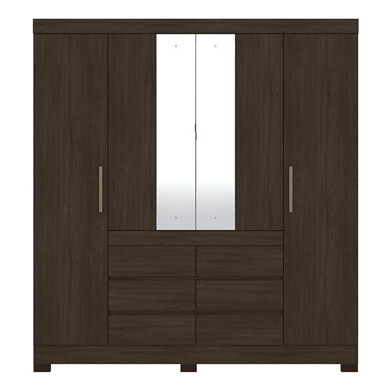 Guarda Roupa Com Espelho com Pés Cádis 4 Portas Ébano - Demóbile