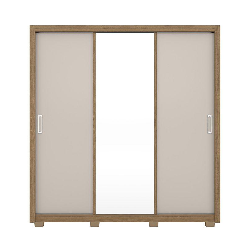 Guarda Roupa Com Espelho com Pés Residence 3 Portas Deslizantes Amêndola/Off White - Demóbile