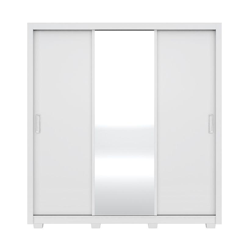 Guarda Roupa Com Espelho com Pés Residence 3 Portas Deslizantes Branco - Demóbile