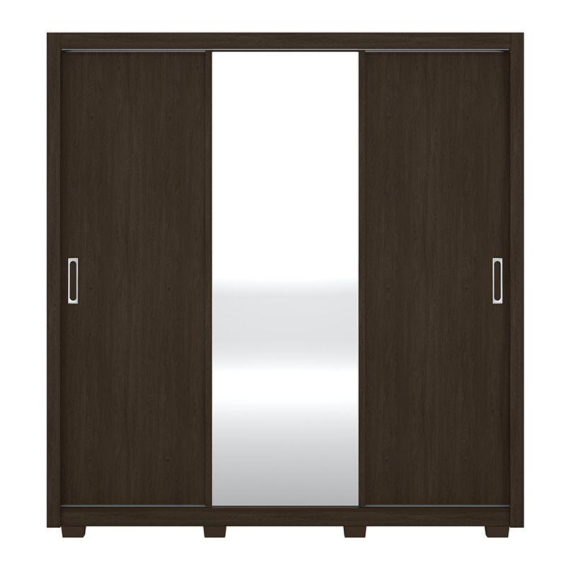 Guarda Roupa Com Espelho com Pés Residence 3 Portas Deslizantes Ébano - Demóbile