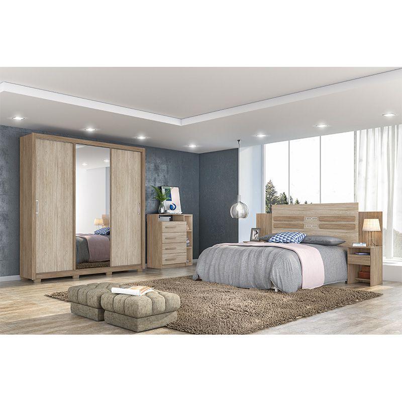 Guarda Roupa Com Espelho com Pés Residence 3 Portas Deslizantes Nogal - Demóbile