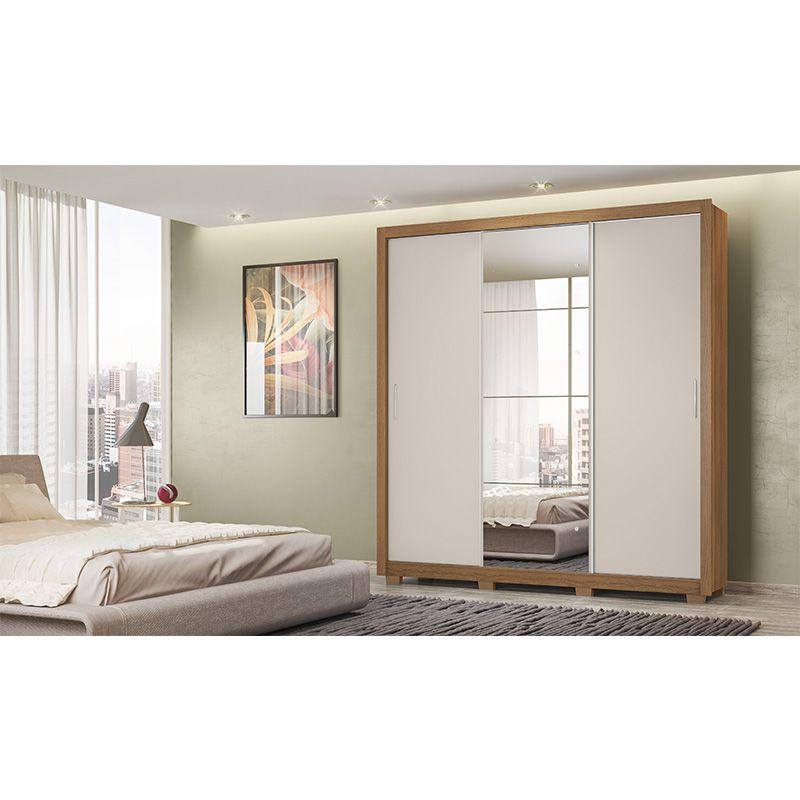 Guarda Roupa Com Espelho com Pés Residence II 3 Portas Deslizantes Amêndola/Off White - Demóbile