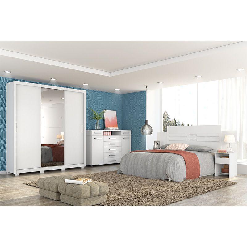 Guarda Roupa Com Espelho com Pés Residence II 3 Portas Deslizantes Branco - Demóbile