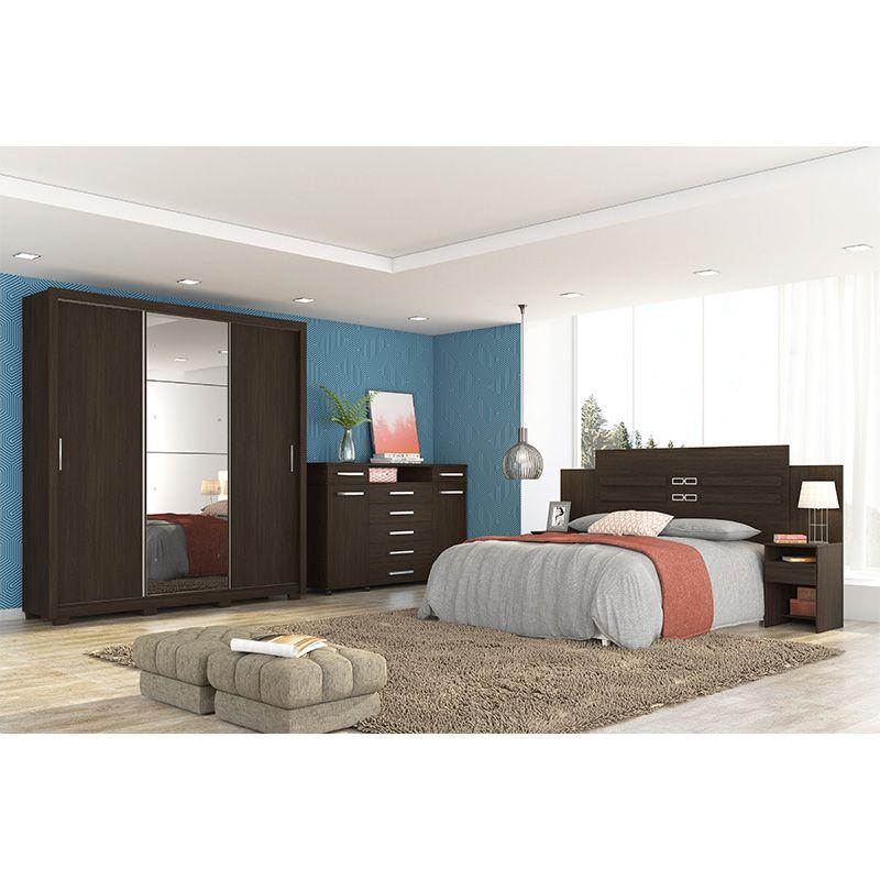 Guarda Roupa Com Espelho com Pés Residence II 3 Portas Deslizantes Ébano - Demóbile