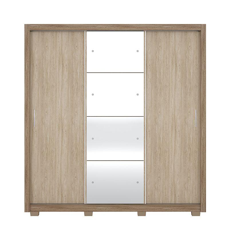 Guarda Roupa Com Espelho com Pés Residence II 3 Portas Deslizantes Nogal - Demóbile