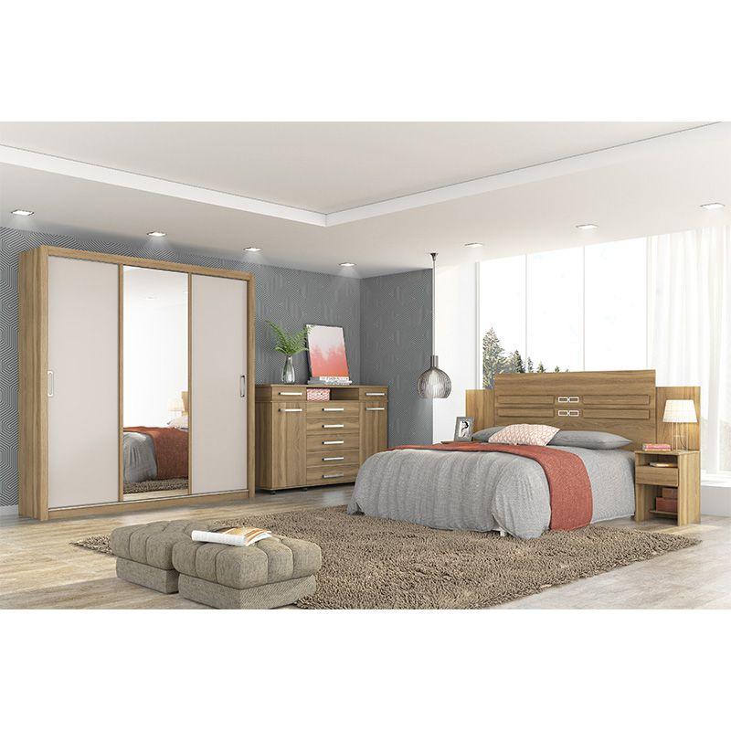 Guarda Roupa Com Espelho Residence 3 Portas Deslizantes Amêndola/Off White - Demóbile