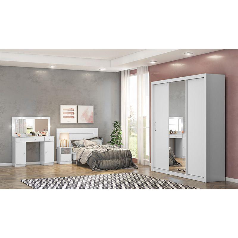 Guarda Roupa Com Espelho Residence 3 Portas Deslizantes Branco - Demóbile