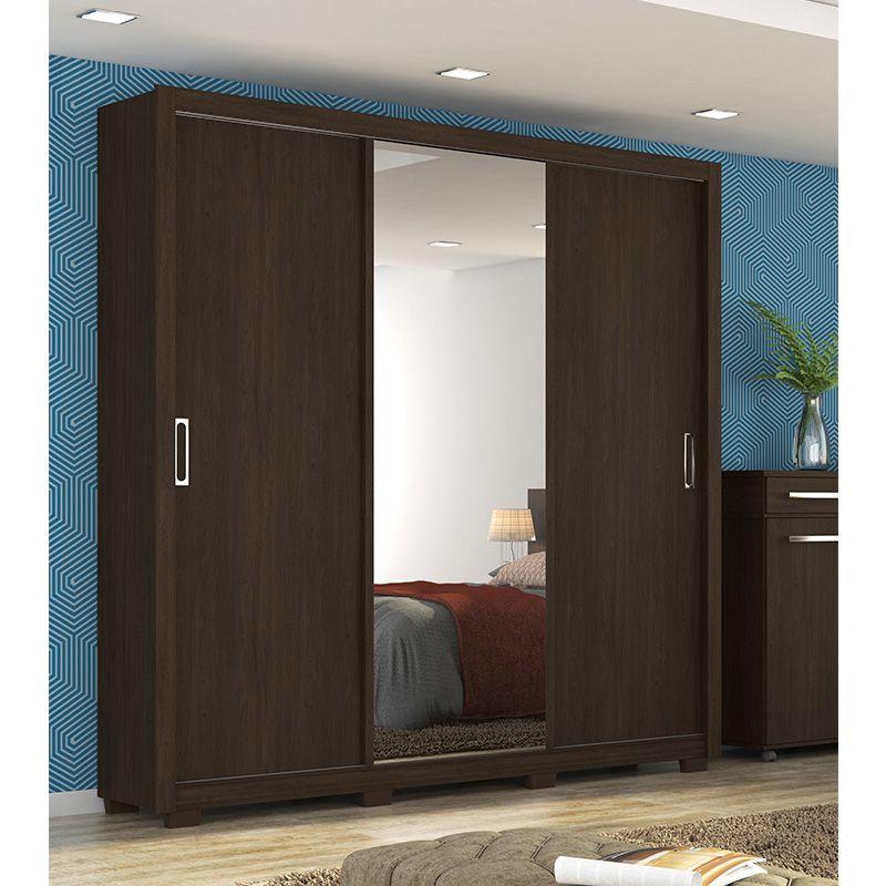Guarda Roupa Com Espelho Residence 3 Portas Deslizantes Ébano - Demóbile