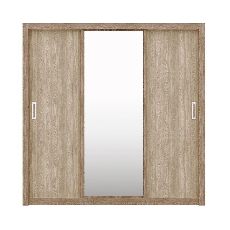 Guarda Roupa Com Espelho Residence 3 Portas Deslizantes Nogal - Demóbile