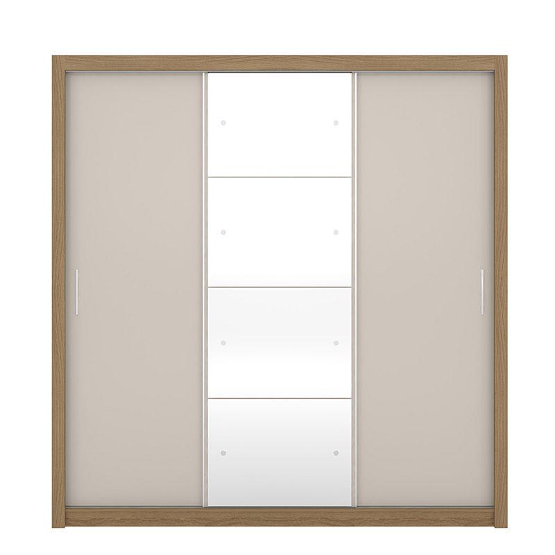 Guarda Roupa Com Espelho Residence II 3 Portas Deslizantes Amêndola/Off White - Demóbile