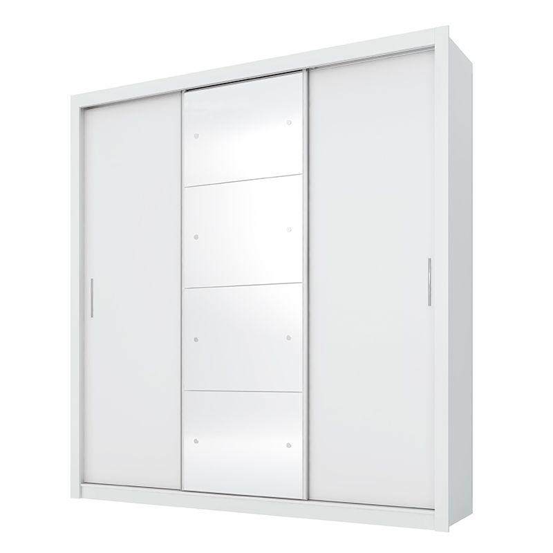 Guarda Roupa Com Espelho Residence II 3 Portas Deslizantes Branco - Demóbile