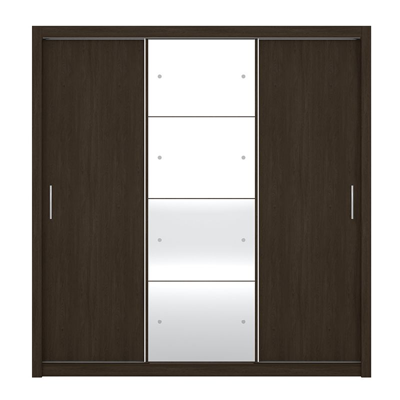 Guarda Roupa Com Espelho Residence II 3 Portas Deslizantes Ébano - Demóbile