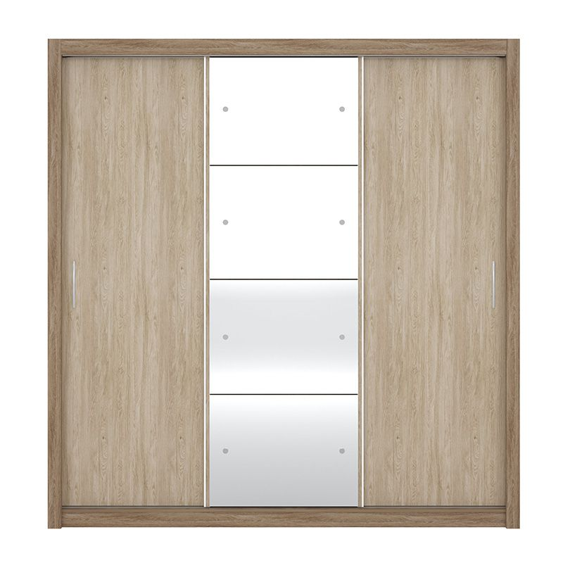 Guarda Roupa Com Espelho Residence II 3 Portas Deslizantes Nogal - Demóbile