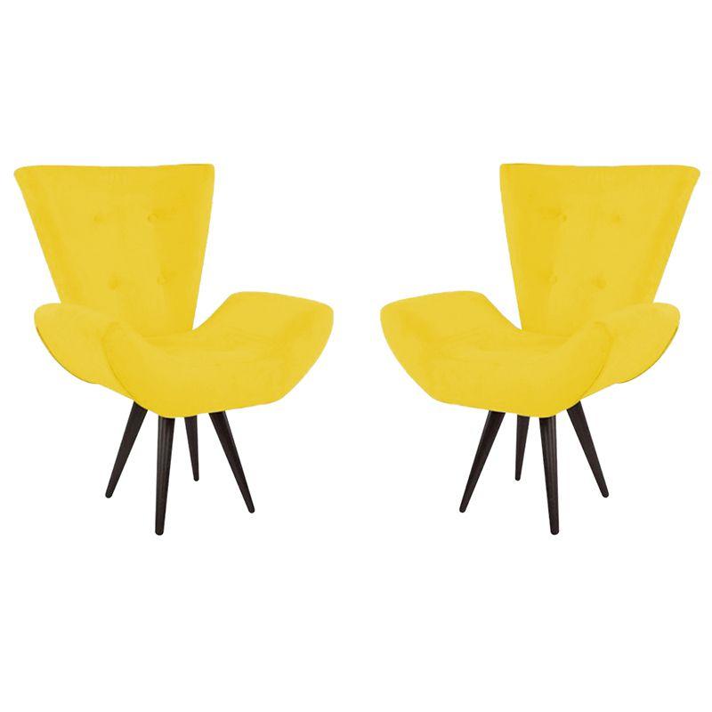 Kit 2 Poltronas Decorativas Bela Pés Palito Suede Amarelo - Gariani Estofados
