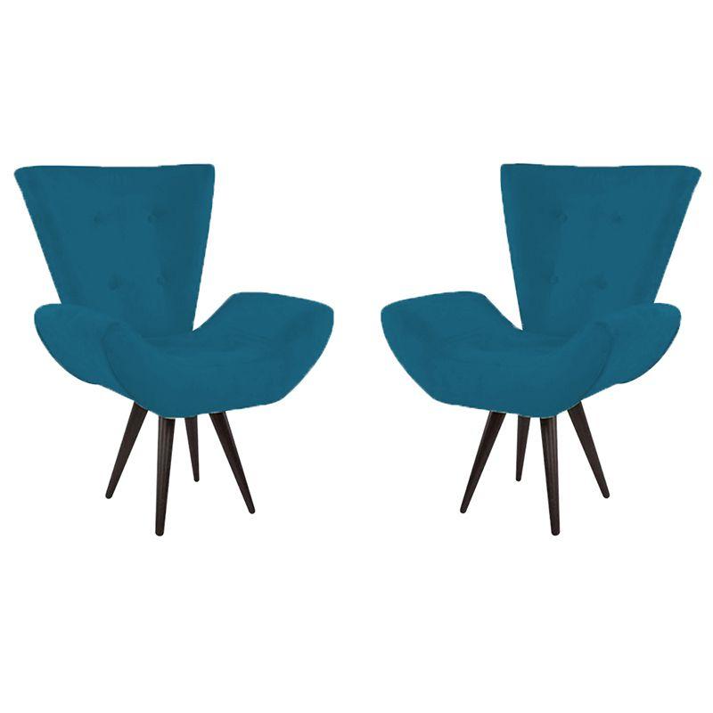 Kit 2 Poltronas Decorativas Bela Pés Palito Suede Azul Marinho - Gariani Estofados