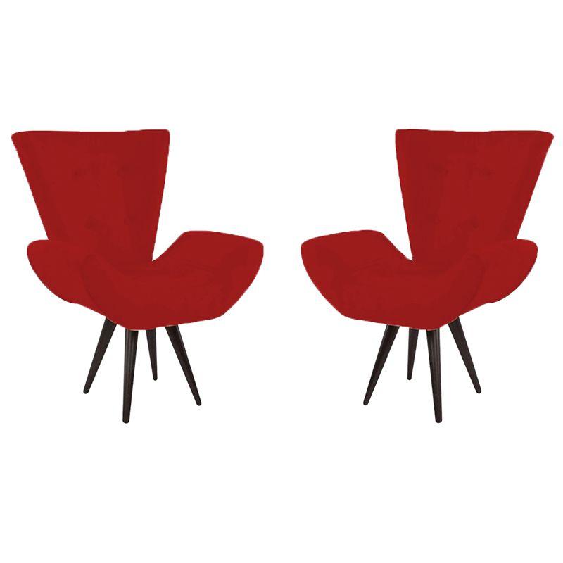 Kit 2 Poltronas Decorativas Bela Pés Palito Suede Vermelho - Gariani Estofados