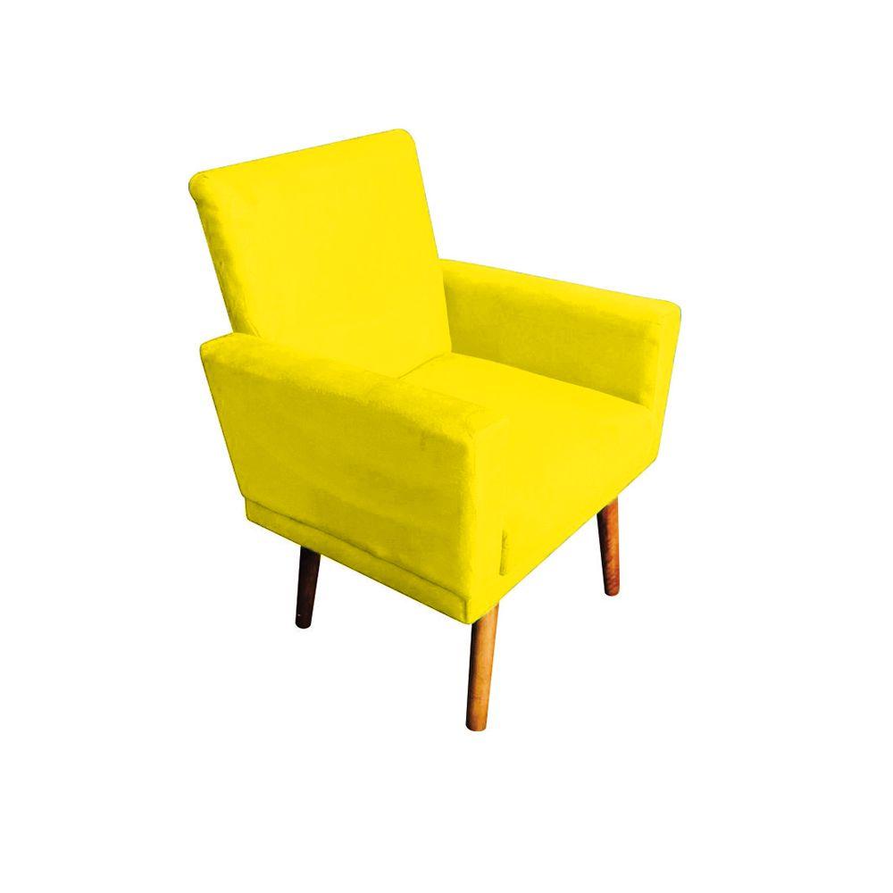Kit 2 Poltronas Decorativas Nina com Rodapé Pés Palito Suede Amarelo - Gariani Estofados