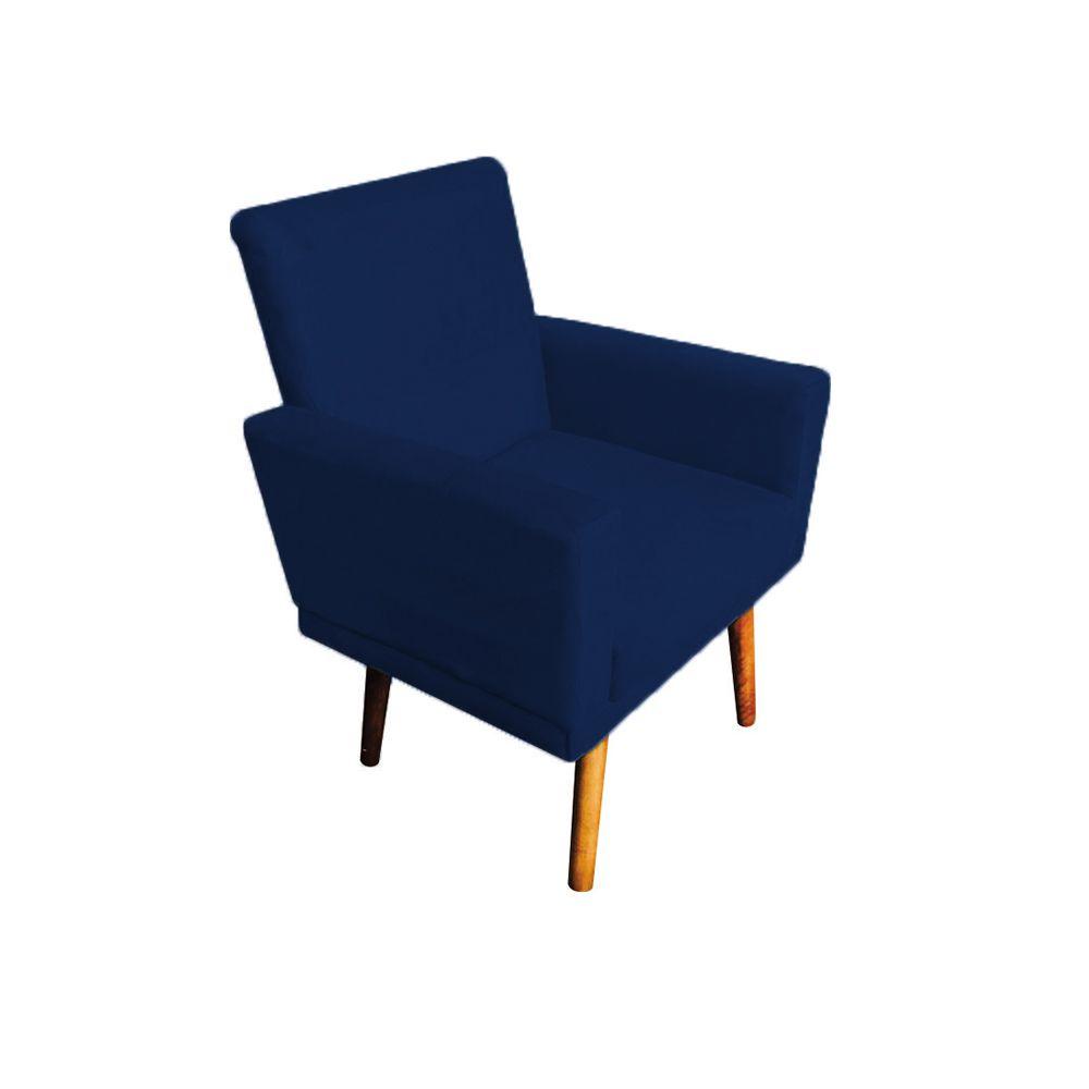 Kit 2 Poltronas Decorativas Nina com Rodapé Pés Palito Suede Azul Marinho - Gariani Estofados