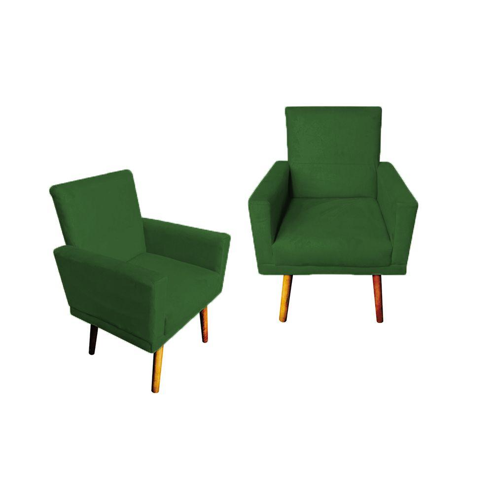 Kit 2 Poltronas Decorativas Nina com Rodapé Pés Palito Suede Verde - Gariani Estofados