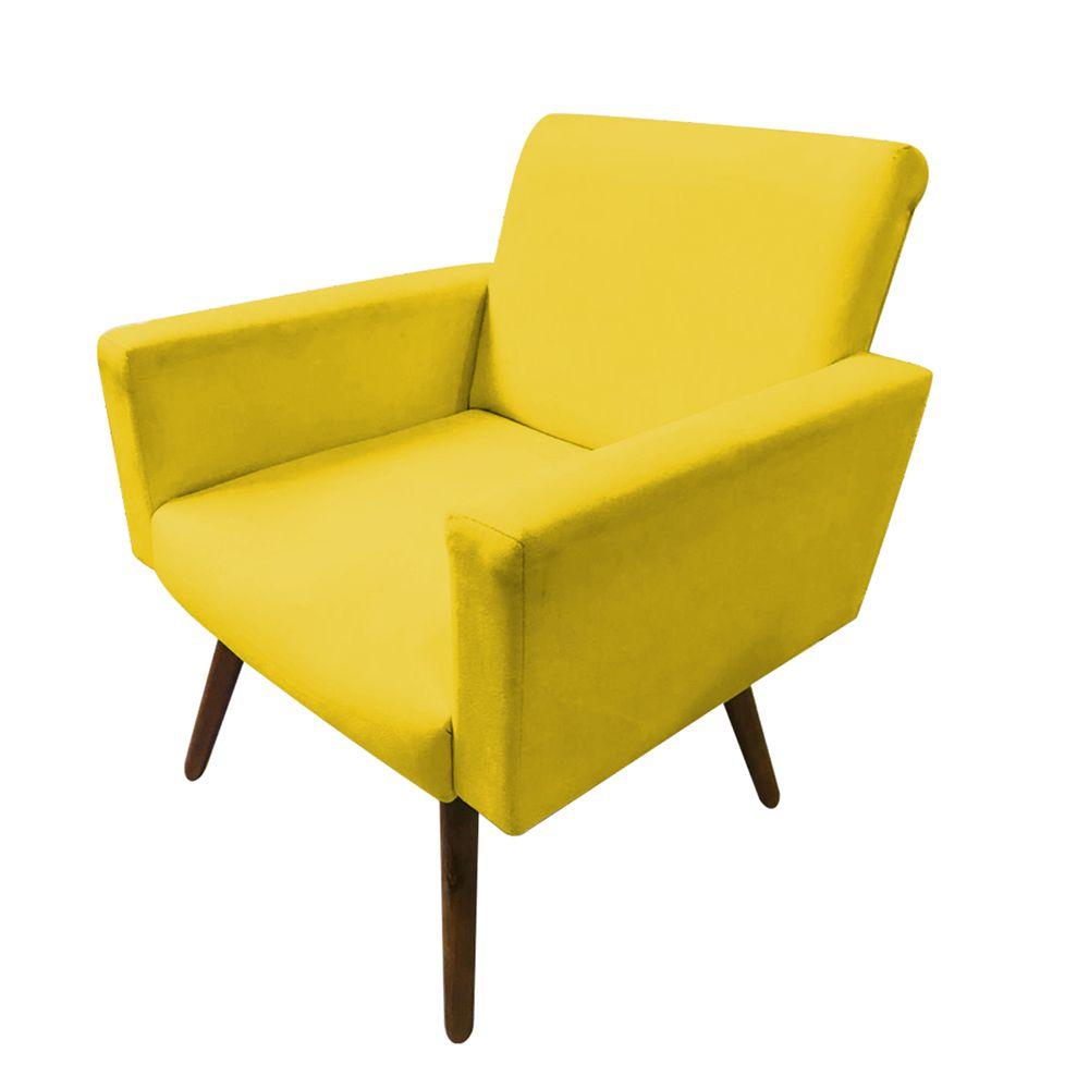 Kit 2 Poltronas Decorativas Nina Pés Palito Suede Amarelo - Gariani Estofados