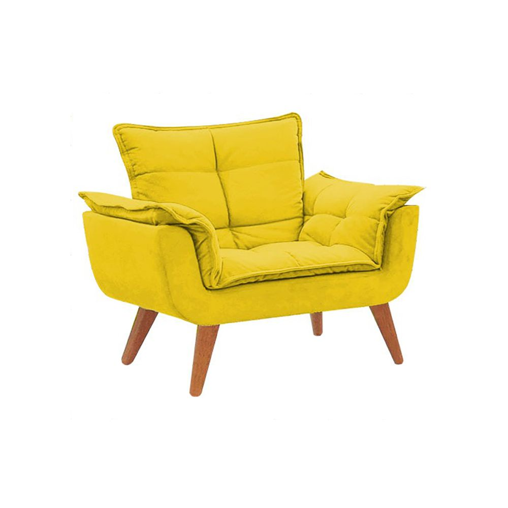 Kit 2 Poltronas Decorativas Opala Pés Palito Suede Amarelo - Gariani Estofados