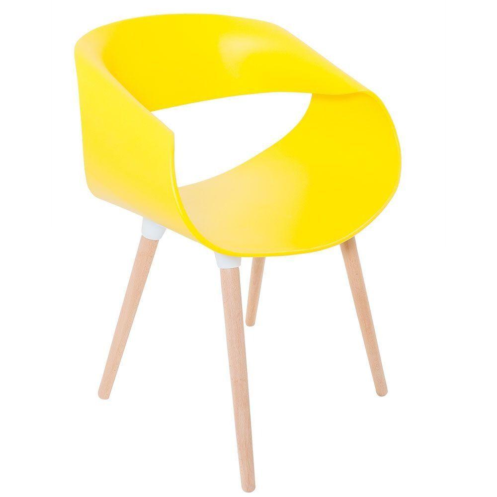 Kit 4 Cadeiras Petra com Pés Palito e Encosto Curvo Amarela - Facthus
