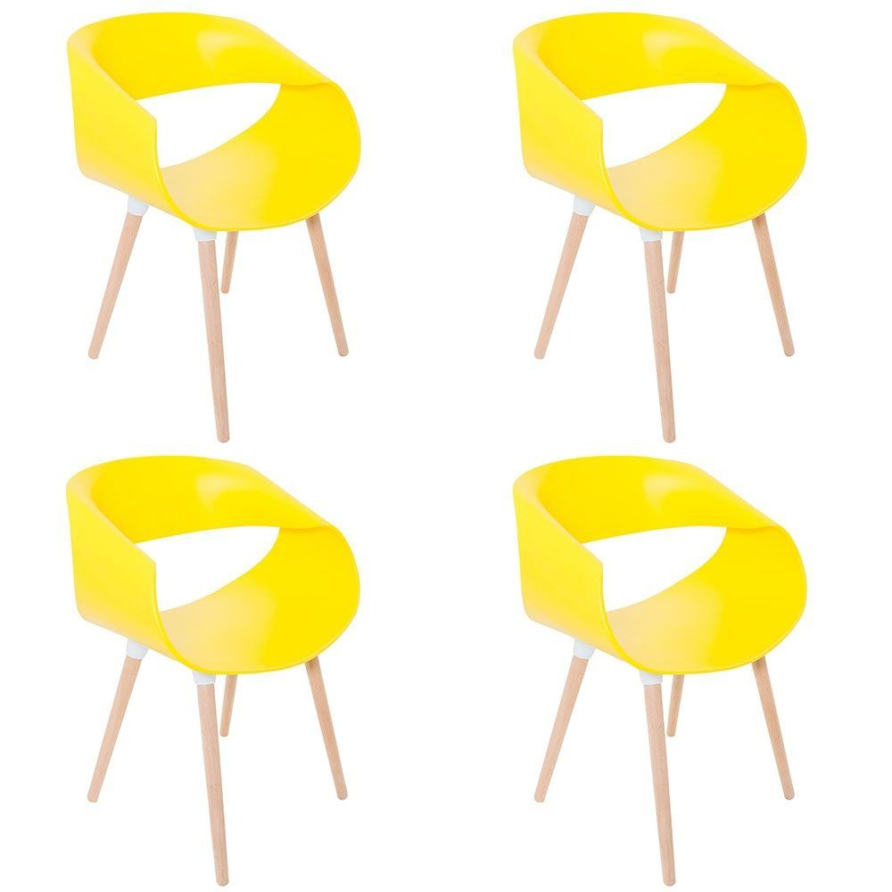 Kit 4 Cadeiras Petra com Pés Palito e Encosto Curvo - Facthus