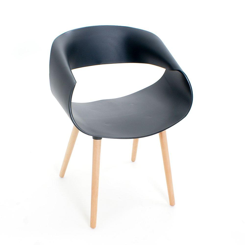 Kit 4 Cadeiras Petra com Pés Palito e Encosto Curvo Preta - Facthus