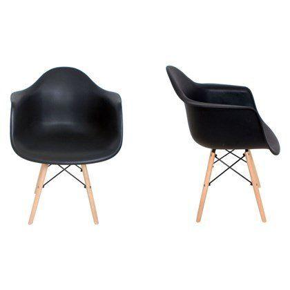 Kit 8 Cadeiras Eiffel Melbourne com Pés Palito em Madeira Preta - Facthus