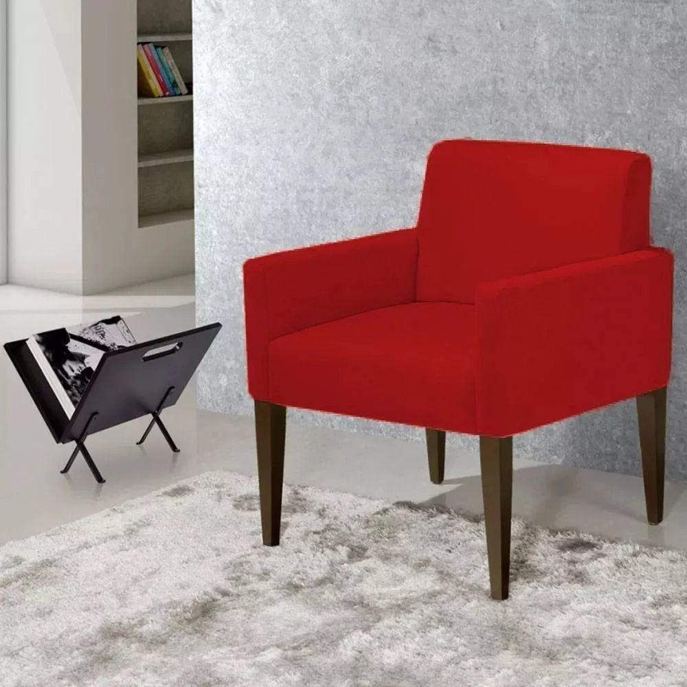 Kit com 02 Poltronas Decorativa Laís Sued Vermelho