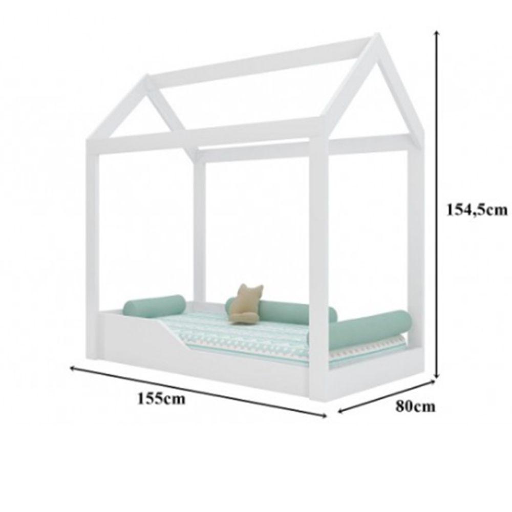 Mini Cama Infantil Casinha Montessoriana Cristal MDF Branco - Peternella