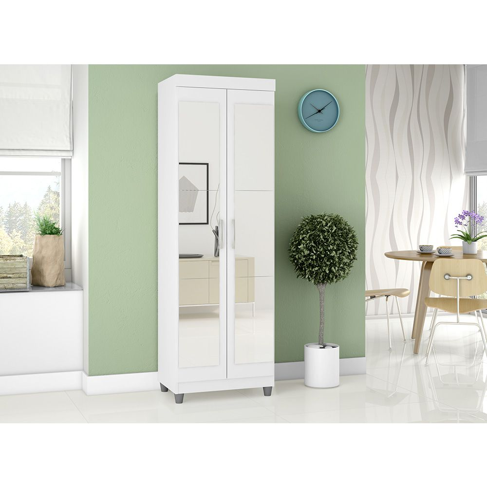 Multiuso Organizador 7020 2 Portas com Espelho 4 Prateleiras Branco - Araplac