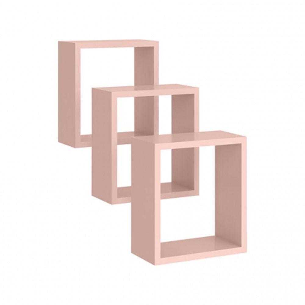 Nicho de parede Quadrado Kit 3 peças Rosê - Peternella