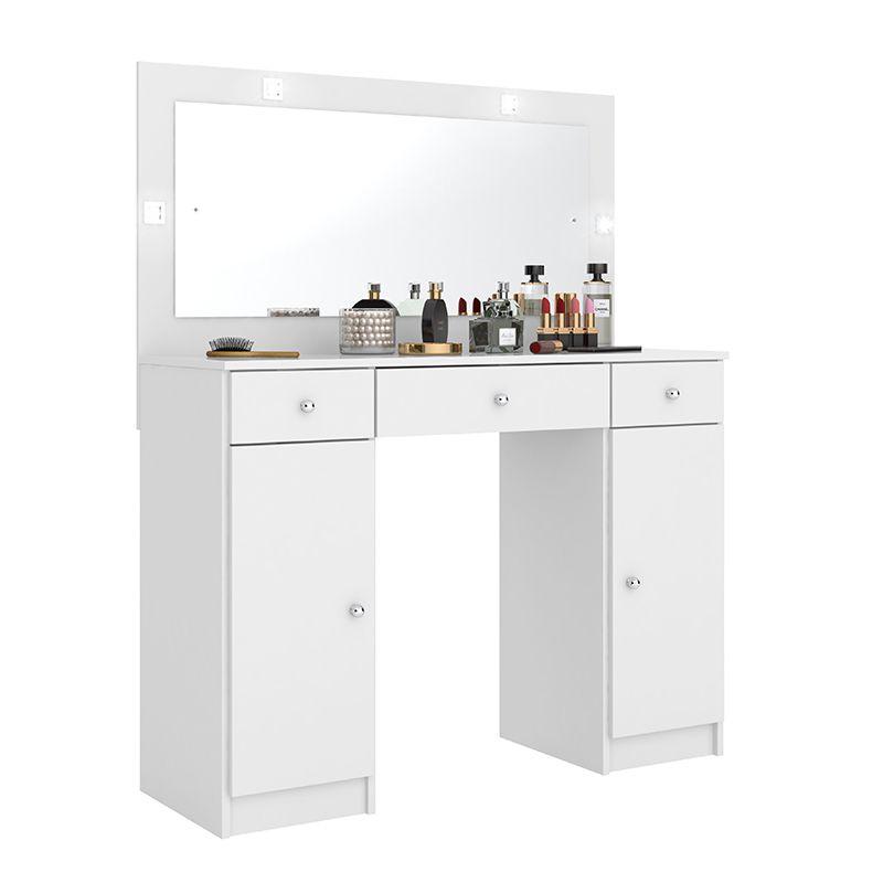 Penteadeira Camarim com Espelho 3 Gavetas e 2 Portas Carisma Branco - Demóbile