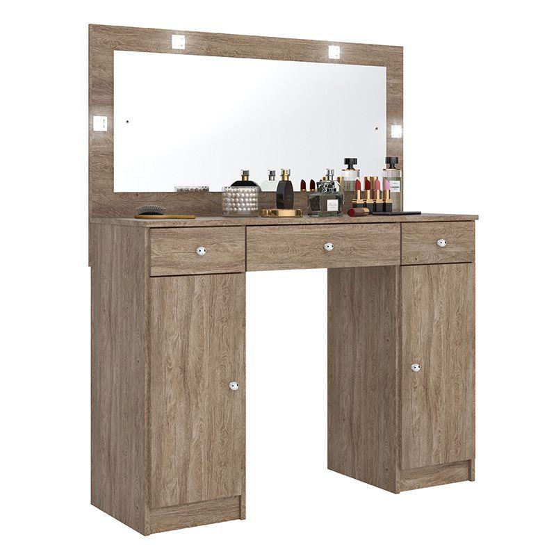 Penteadeira Camarim com Espelho 3 Gavetas e 2 Portas Carisma Nogal - Demóbile