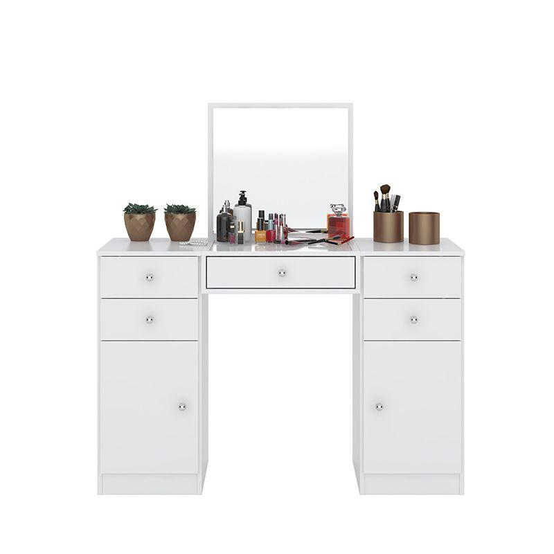 Penteadeira com Espelho 5 Gavetas e 2 Portas Lorena Branco - Demóbile