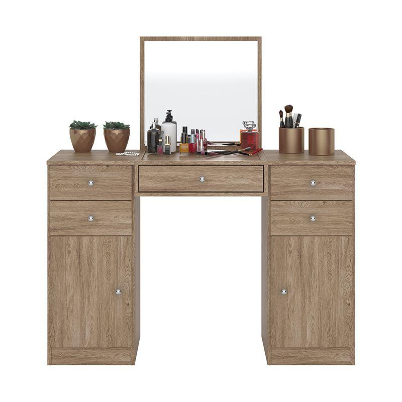 Penteadeira com Espelho 5 Gavetas e 2 Portas Lorena Nogal - Demóbile