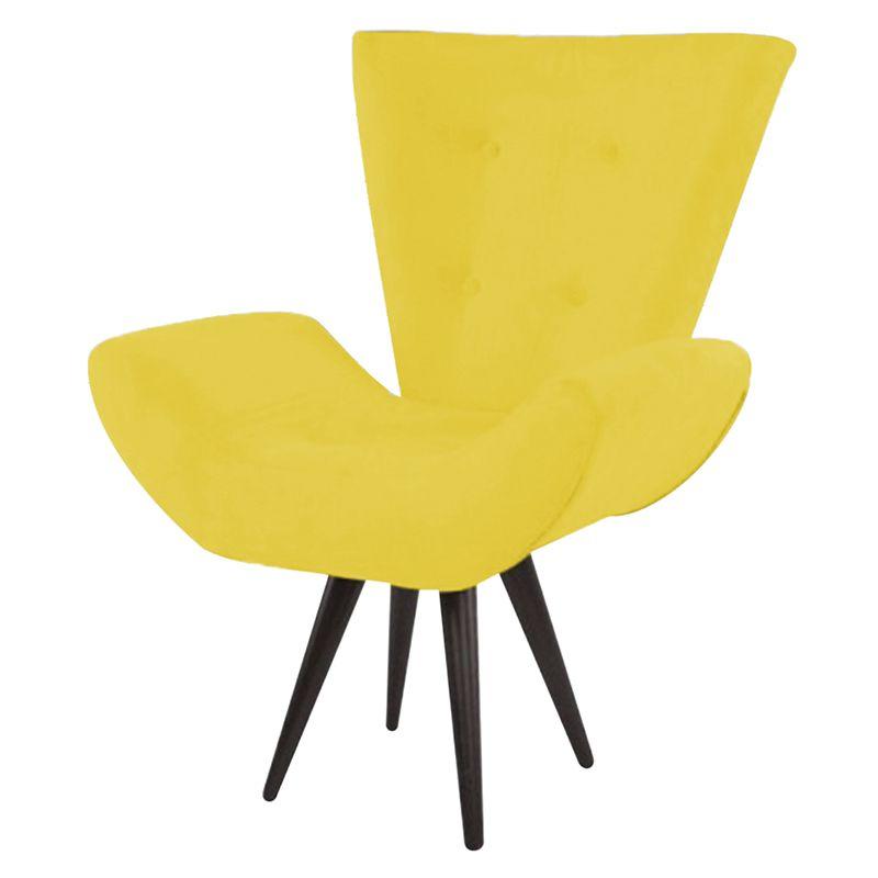 Poltrona Decorativa Bela Pés Palito Suede Amarelo - Gariani Estofados