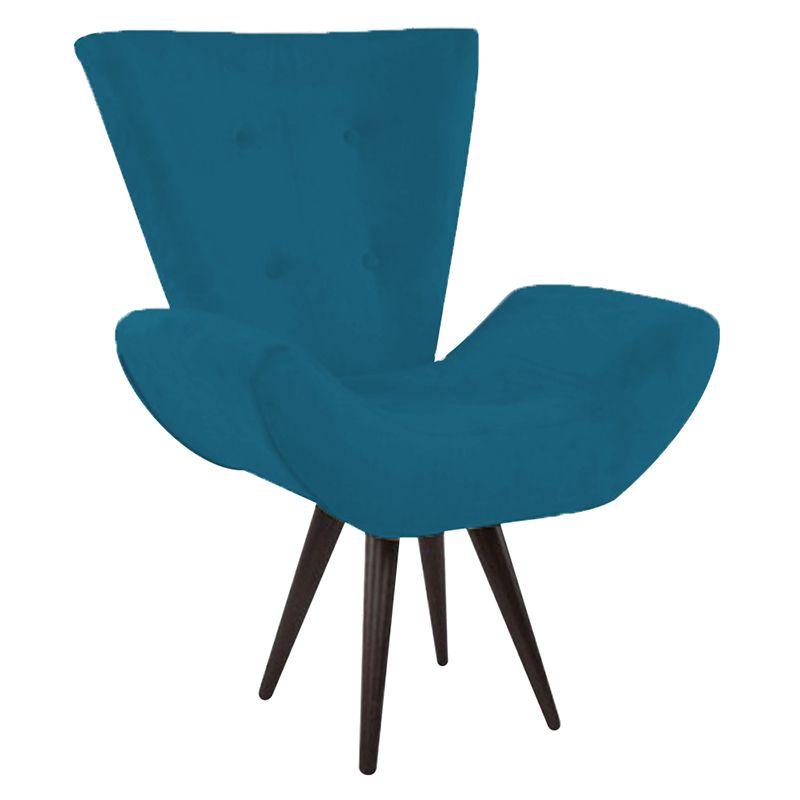 Poltrona Decorativa Bela Pés Palito Suede Azul Marinho - Gariani Estofados