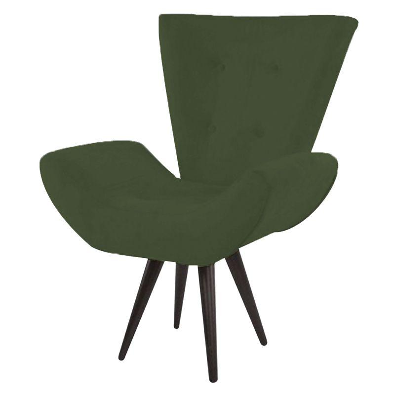 Poltrona Decorativa Bela Pés Palito Suede Verde - Gariani Estofados