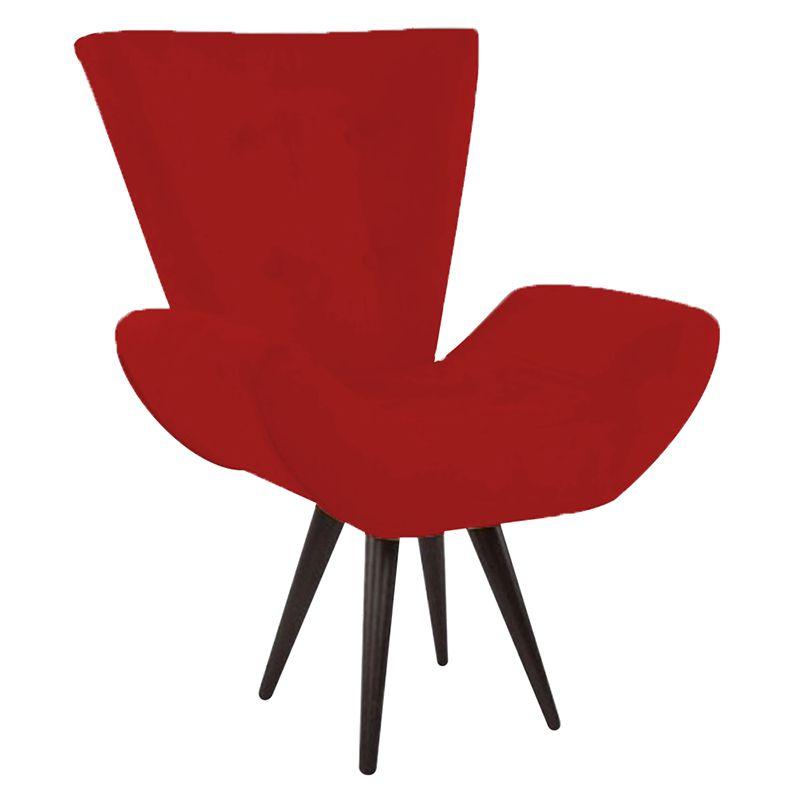 Poltrona Decorativa Bela Pés Palito Suede Vermelho - Gariani Estofados