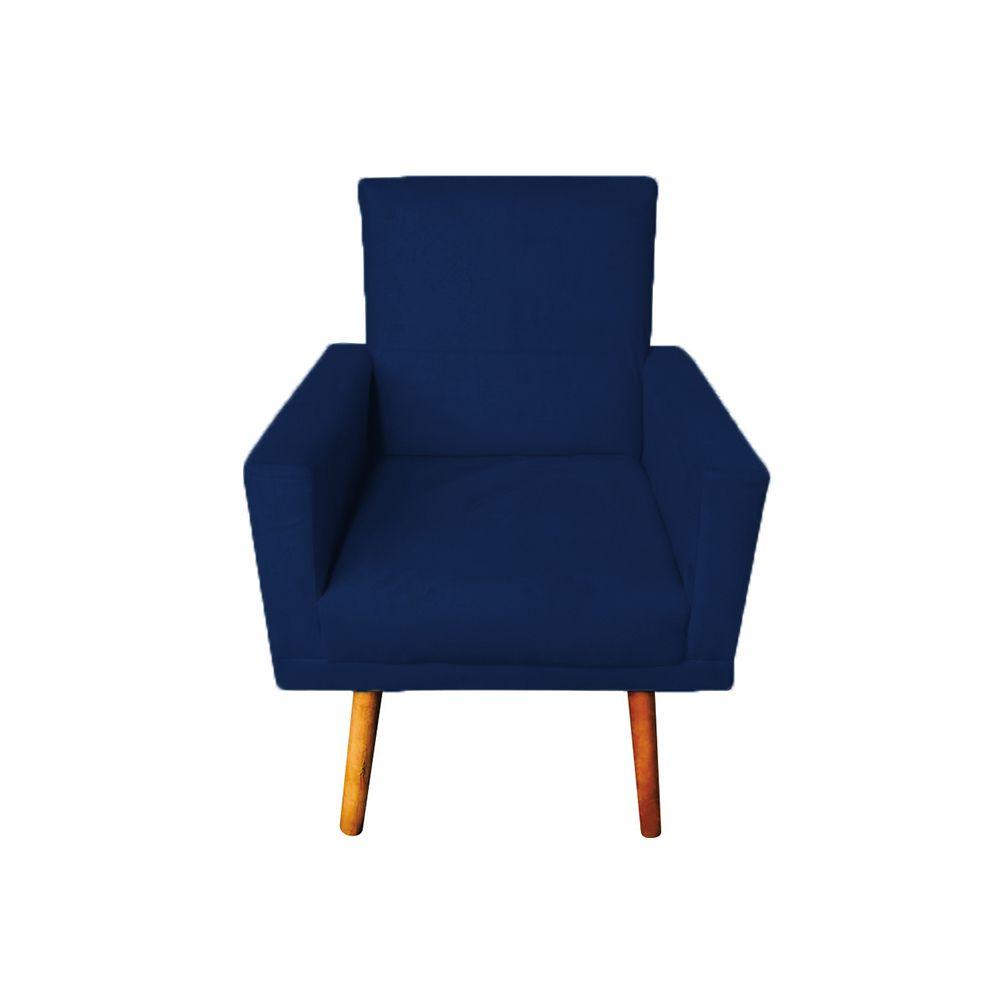 Poltrona Decorativa Nina com Rodapé Pés Palito Suede Azul Marinho - Gariani Estofados
