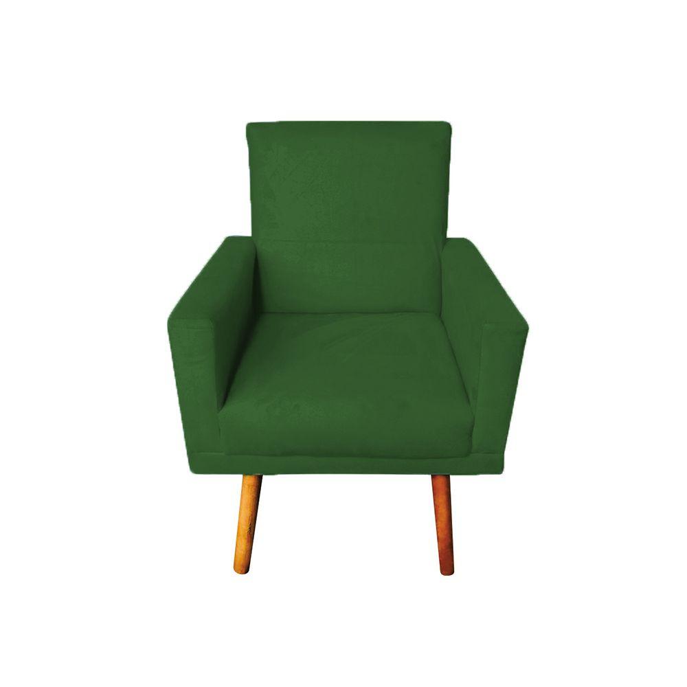 Poltrona Decorativa Nina com Rodapé Pés Palito Suede Verde - Gariani Estofados