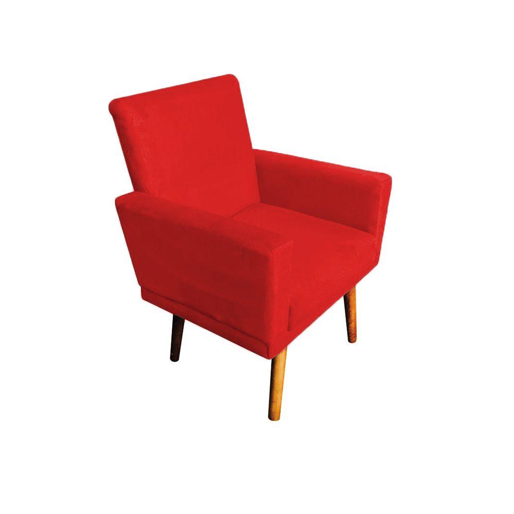 Poltrona Decorativa Nina com Rodapé Pés Palito Suede Vermelho - Gariani Estofados