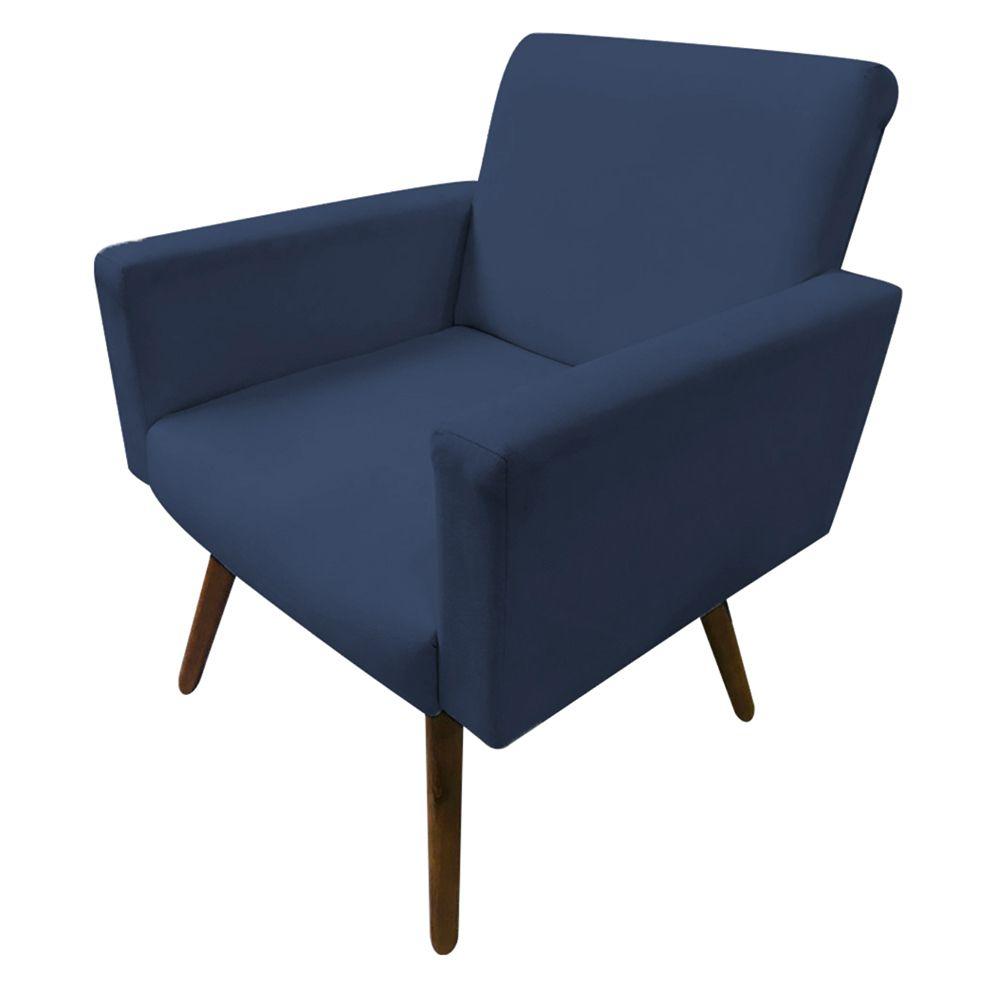 Poltrona Decorativa Nina Pés Palito Suede Azul Marinho - Gariani Estofados