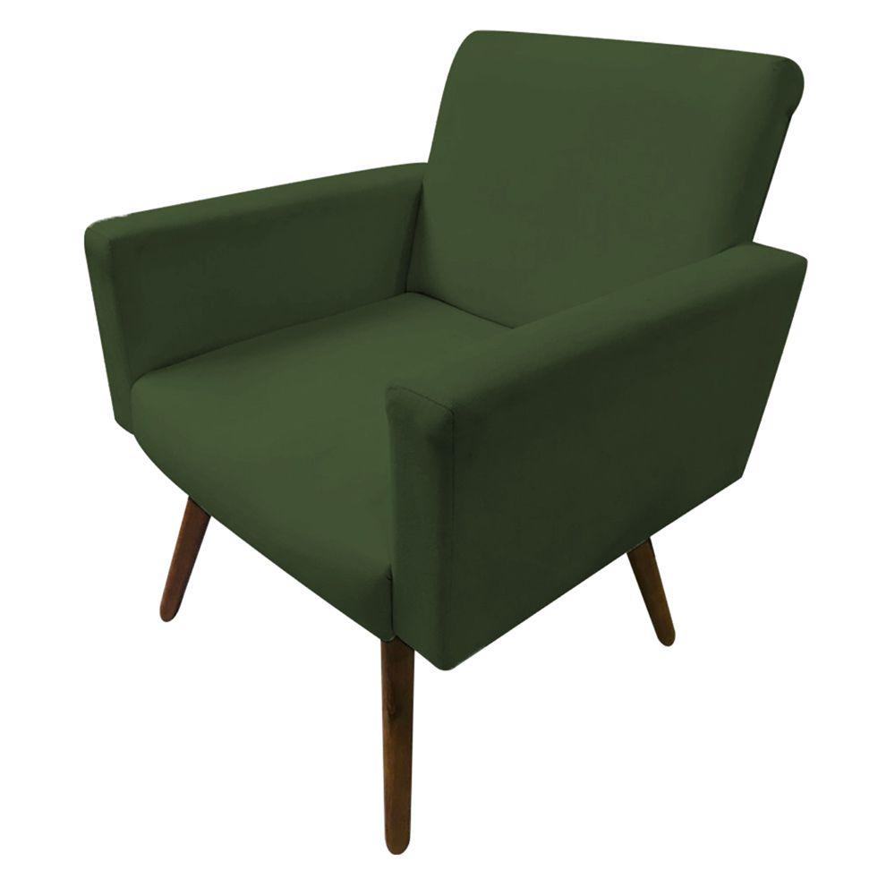 Poltrona Decorativa Nina Pés Palito Suede Verde - Gariani Estofados