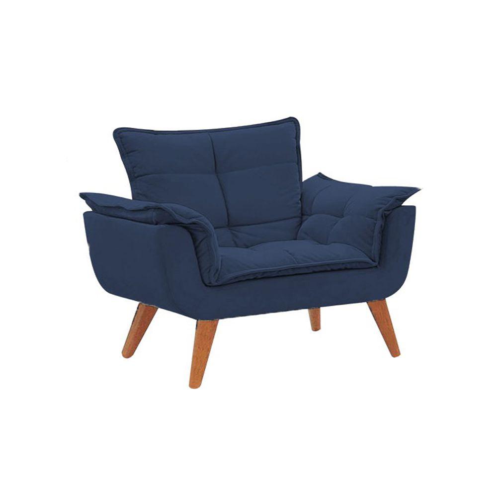 Poltrona Decorativa Opala Pés Palito Suede Azul Marinho - Gariani Estofados