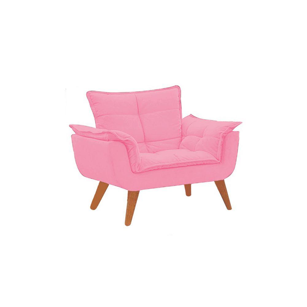 Poltrona Decorativa Opala Pés Palito Suede Rosa - Gariani Estofados