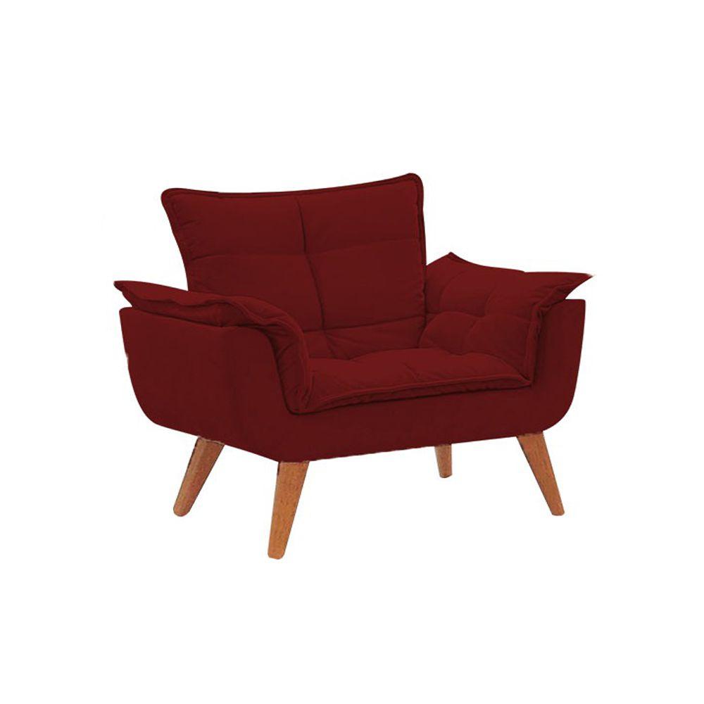 Poltrona Decorativa Opala Pés Palito Suede Vermelho - Gariani Estofados