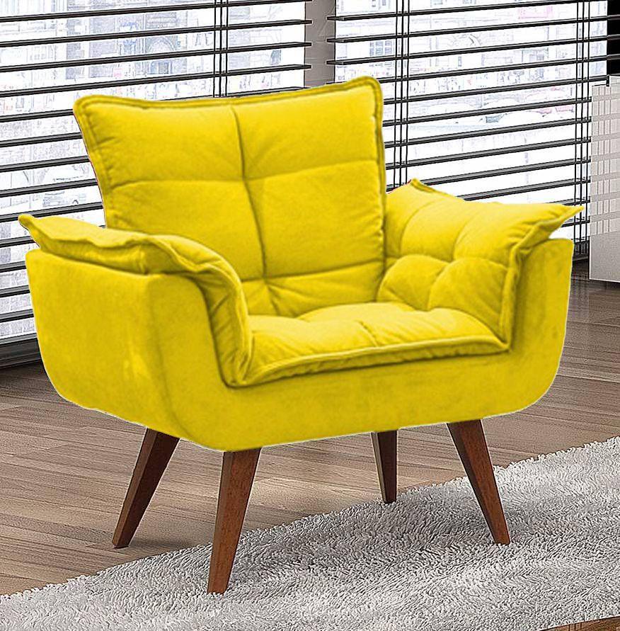 Poltrona Decorativa Opalla Sued Amarelo